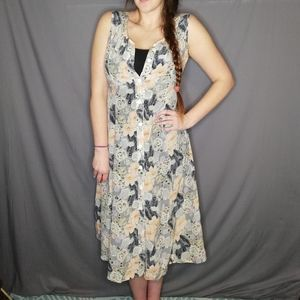 Vintage sleeveless floral button down dress